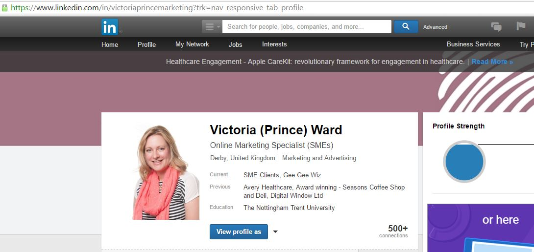 Victoria Ward's LinkedIn profile