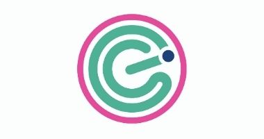 connecting entrepreneurs online logo a pink circle with a green e and a blue dot